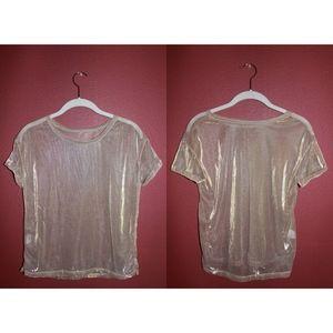 Vintage Sheer Gold Mesh T Shirt Crop Top
